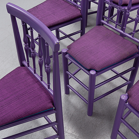 Björn wiinblad, eight painted chairs, second half of the 20th century.