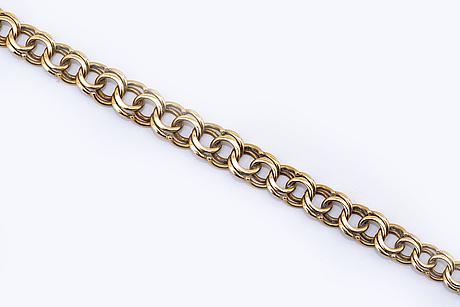 Guldcollier 18k guld, bismarck-länk doserad, ca 43 x 1,5 cm, 15,0 g.