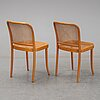 A pair of beech and rattan chairs, mid 20th century.