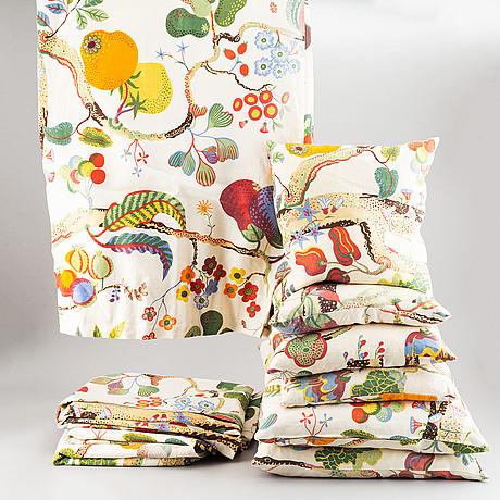 Josef frank, textiles and cushions, svenskt tenn, sweden.
