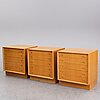 Three oak chest of drawers, 1960's.