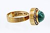 Ring 18k gold with seedpearls and turquoise approx 10 mm, englebert stockholm 1967.