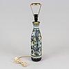Marian zawadzki, bordslampa, lergods, tilgmans kermik, signerad marian och daterad 1957.