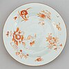A rouge de fer bowl and three dishes, qing dynasty, qianlong (1736-95).