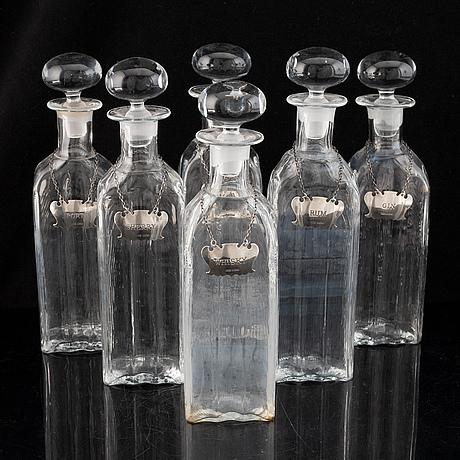Karaffer, 6 st, glas och silver, birmingham, england, 1988.