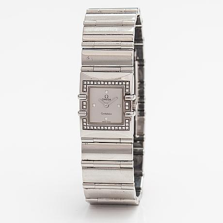 Omega, constellation quadra, armbandsur 21x24 mm.