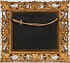 A pietra dura and black marble plaque in a gilded frame. presumably late 19th century.