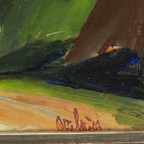 Otte sköld, oil on panel,stamped signature.