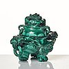 A chinese malachite tripod censer with cover, early 20th century.
