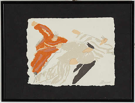 Birgit broms, lithograph in colours, signed 86/150.
