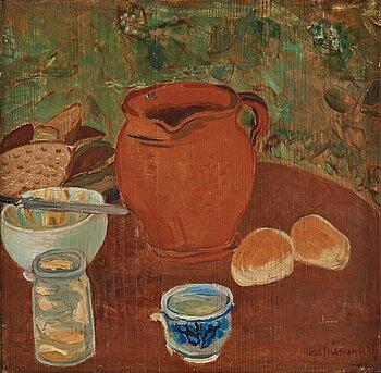 Axel Nilsson, olja på pannå, signerad Axel Nilsson och daterad 1921.