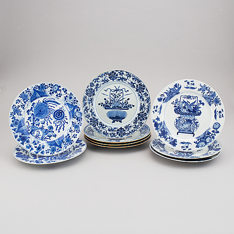 A set of nine blue and white plates, qing dynasty, 18th century, and three of them 19th century.