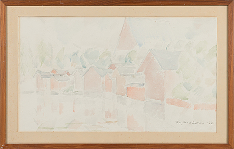 Stig fredriksson, watercolour, signed and dated -62.