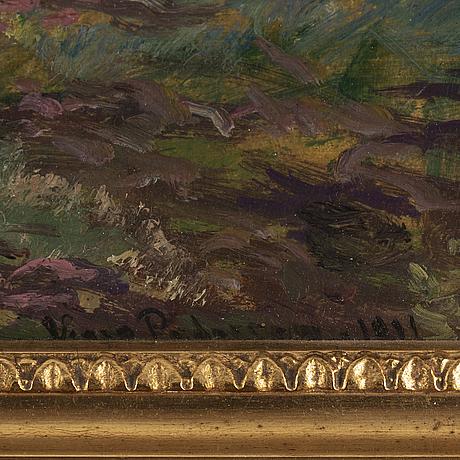 Viggo pedersen, olja på pannå, signerad och daterad 1911.