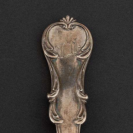 A russian silver serving spoon, mark of alexander kordes, st petersburg 1856.