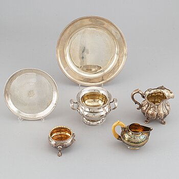 Six Russian silver pieces, mark of Wäkeva, Seipel and others, 18th/19th century.