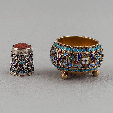 Seven russian silver and enamle pieces for tea, late 19th-early 20th century.