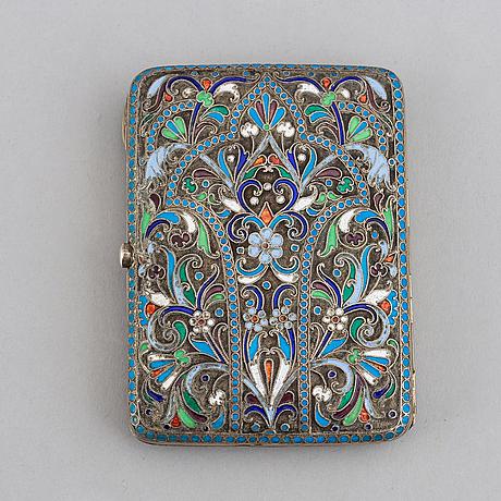 A russian parcel-gilt silver and cloisonné enamel cigarette-case, moscow 1908-1917.