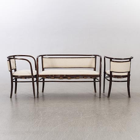A sofa and two armchairs by thonet mondus borlova romania ca 1900.