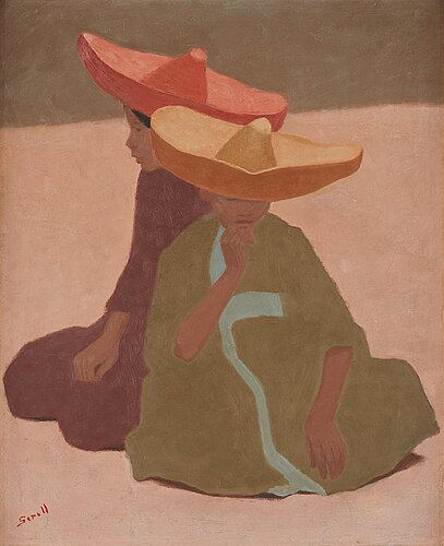 Greta gerell, seated children in large hats.