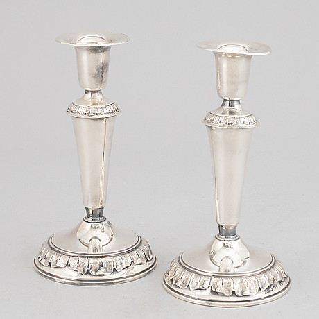 A pair of silver candle holders, gab, stockholm 1958.