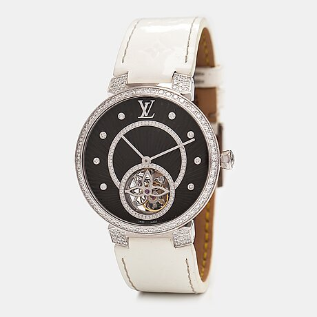Louis vuitton, tambour slim tourbillon, rannekello, 38 mm.