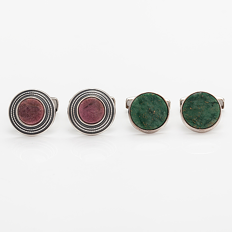 Börje rajalin, two pairs of stelring silver cufflinks with green marble and rhodonite. kalevala koru, helsinki.