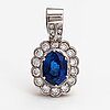 An 18k gold pendant with a ca. 4.20 ct sapphire and diamonds ca. 1.46 ct in total.