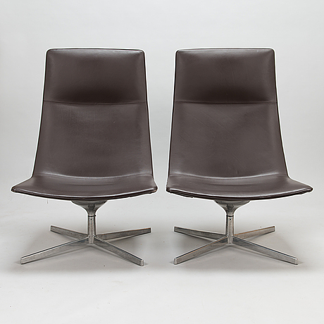 A pair of armchairs, arper catifa 70 lounge chair. italy.