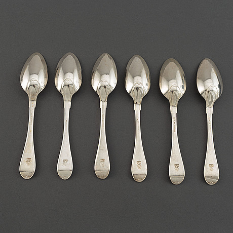 A set of six swedish 19th century silver spoons, mark of gustaf otto sjöberg, falun 1810.