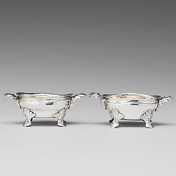 A mached pair of Swedish Rococo parcel-gilt silver salt-cellars, mark of Johan Bergengren, Kristianstad 1777 and 1780.