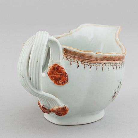 Two famille rose serving dishes and a sauce boat, qing dynasty, qianlong (1736-95).