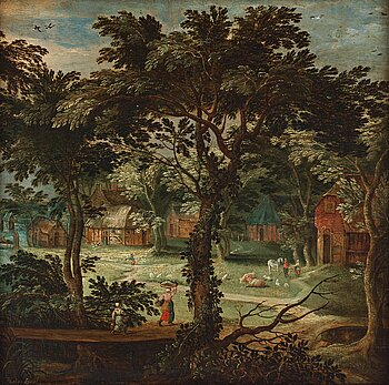532. Adriaen van Stalbemt Hans krets, Landskap med figurer vid by.