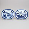 Two blue and white serving dishes, qing dynasty, 19th century.