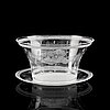 Edward hald, an engraved orrefors glass bowl with stand, first half of 20th century.