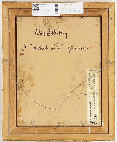 Nisse zetterberg, oil on paper-panel, signed. dated 1950 verso.