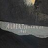 Albert johansson, blandteknik/collage, signerad och daterad 1961.