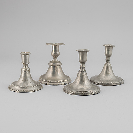 Four gustavian pewter candlestick, late 18th / early 19th century.