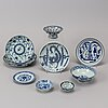 A group of chinese blue and white ceramics for the south east asian market, circa 1900.