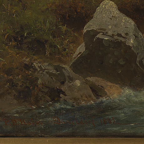 Per daniel holm, oil on canvas, signed and dated düsseldorf 1865.