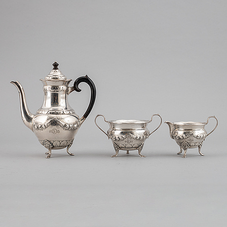 A three piece silver coffee service, denmark, 1932.