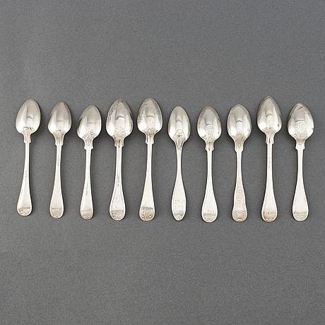 Kaffeskedar, 32 st, silver, sverige, 1856-1905.