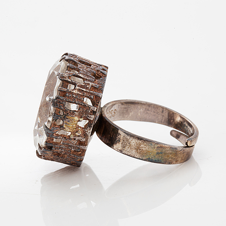 A bengt hallberg silver and rock crystal ring.