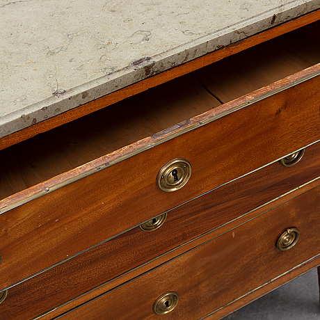 A late gustavian chest of drawers, stockholm, late 18th century.