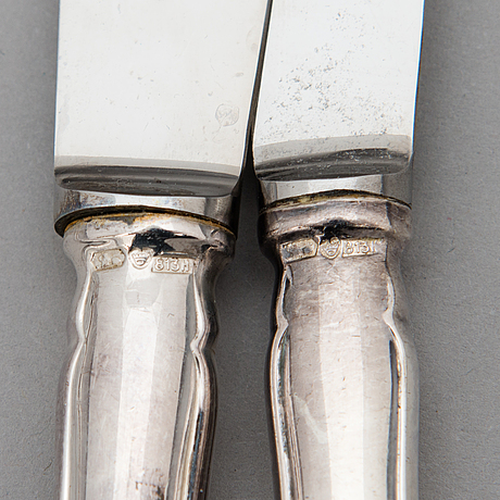 A 48-piece set of 'chippendale' silver cutlery, hämeenlinna, finland 1959-60.