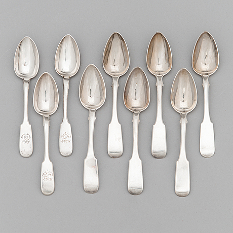 Nine silver spoons from st petersburg, 1842 and 1873. six with maker's mark of johann diedrich lindqvist 1842.