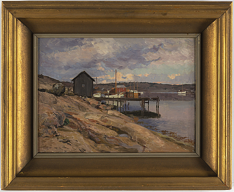 Bernhard oscarsson, oil on panel, signed and dated 1938.
