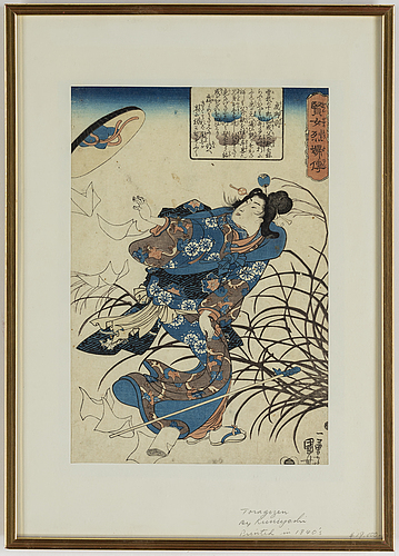 Utagawa kuniyoshi, two coloured woodblock prints, from biographies of wise women and virtuous wives, japan, 19th century.