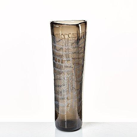 """Paolo venini, a smoke coloured """"mosaico zanfirico"""" vase, murano, italy 1950's."""