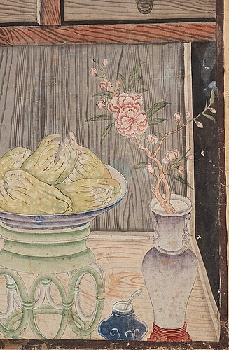 Two chinese panels, by unknown artist, ink and colour on paper laid on board, qing dynasty, 18th century.